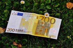 200 Euro Schein auf einer Wiese